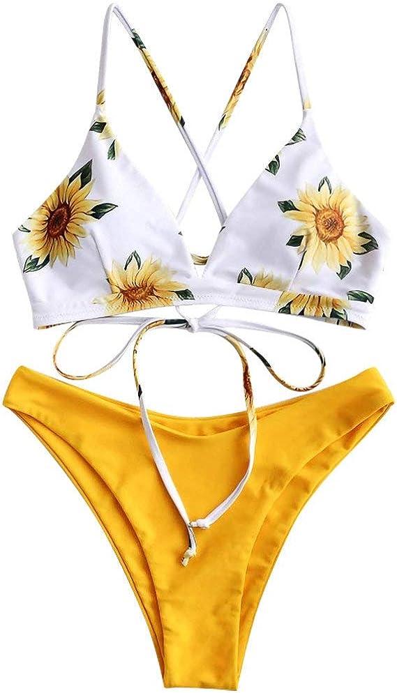 Bikini Mujer Push Up Traje de baño Fresco con Estampado de Girasol ...