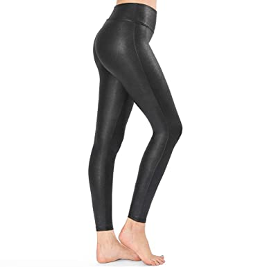 12ca9241c4cd69 Tsful Faux Leather Leggings for Women Black High Waisted Leather ...