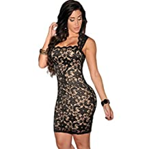Fashion Women's Sexy Sleeveless Package Hip Tight Illusion Vintage Womens Dress