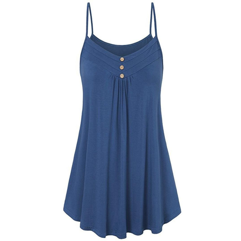 FORUU Wedding Womens Summer Loose Button V Neck Cami Tank Tops Vest Blouse (M, Blue)