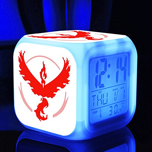 Style 4 New Pokemon GO Cartoon Video Games Action Figure 7 Colors Change Digital Alarm LED Clock Cartoon Night Colorful Toys for Kids
