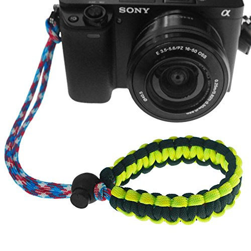 FoRapid Braided 550 Paracord Adjustable Camera Wrist Strap / Bracelet for Mirrorless Compact System DSLR Cameras, Binoculars (Yellow/Black)