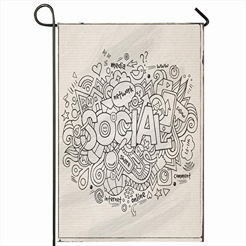 Ahawoso Outdoor Garden Flag 12x18 Inches Follow Internet Media Social Hand Lettering Site Pc Doodles Sketch Drawn Mouse Smart Home Decor Seasonal Double Sides House Yard Sign Banner