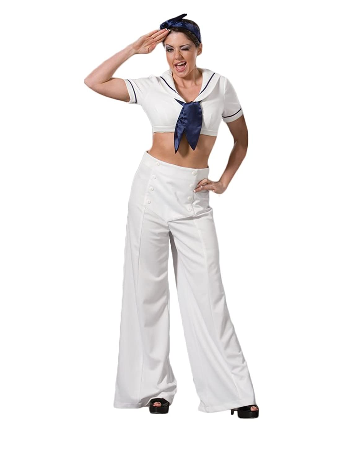 Vintage High Waisted Trousers, Sailor Pants, Jeans Navy Sailor World War II Pin-Up Girl Theater Costume $149.99 AT vintagedancer.com