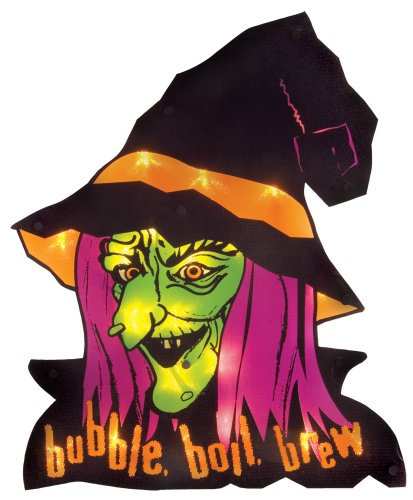 [Impact Innovations Halloween Shimmer Lighted Window Decoration, Witch Face] (Scary Halloween Witches)