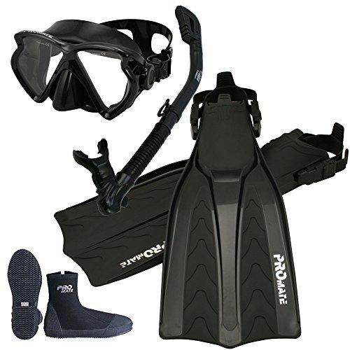 Snorkel Boots Fins Mask (Scuba Dive Boots Fins Mask Snorkel Gear Set, All Black, Mens 13 / Womens 14)
