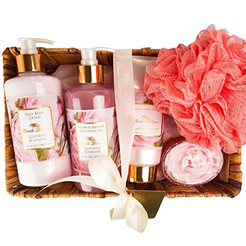 Camille Beckman Essentials Gift Basket, Glycerine Rosewater, Glycerine Hand Therapy 6 oz, Silky Body Cream 13 oz, Hand and Shower Cleansing Gel 13 oz, Glycerine Soap 3.5 (Rosewater Hand Therapy)