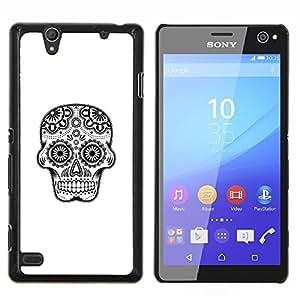 """For Sony Xperia C4 Case , Negro Blanco Minimalista cráneo Símbolo"""" - Diseño Patrón Teléfono Caso Cubierta Case Bumper Duro Protección Case Cover Funda"""