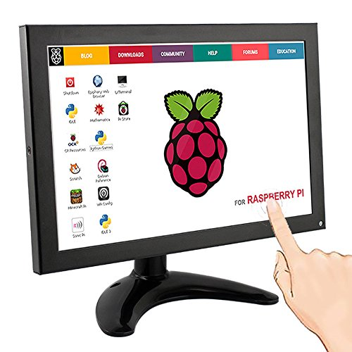 Elecrow 10.1 Inch IPS LED Touch Screen 1280x800 Resolution Portable Small FULL HD Monitor with HDMI BNC VGA AV USB Input for Raspberry Pi Windows 7 8 10 System FPV Video TV CCTV Security Black by Elecrow