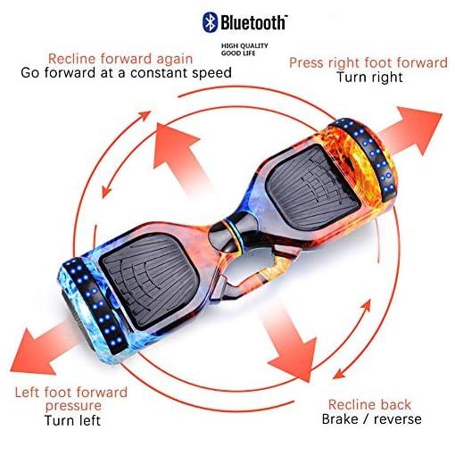 FLY Hoverboard Auto-Équilibrage Électrique Skateboard 10 Pouces avec Hoverkart Go-Kart avec Main Courante De Sécurité Réglable en Hauteur avec Bluetooth-Musique/LED-Roue Clignotante,Ice Fire
