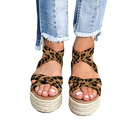 Liyuandian Womens Open Toe Espadrille Ankle Strap Boho Lace Up Rivet Flatform Sandals (42 EU-11.01in(Foot Length)-11 US, B Leopard Print)