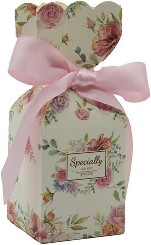 FSYX Bolsa de regalo Suministros de boda Caja de regalo Papel Caja de dulces Fiesta de cumpleaños Decoración de regalo para bebés 5x5x12.5cm Rosa