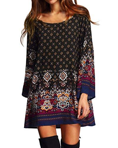 Kidsform Damen Kleider Tshirt Kleid Casual Sommerkleid Rundhals Kurzarm Minikleid Tunika mit Bowknot Ärmeln
