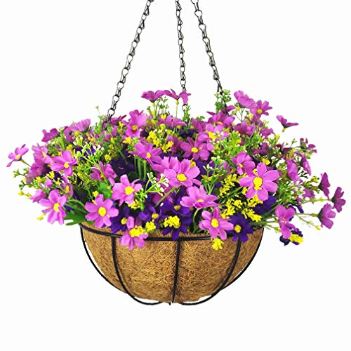 Mynse Simulation Daisy Flower Hanging Basket for Home Indoor Outdoor Decoration Hanging Basket Artificial Silk Daisy Purple (Big Basket and Artificial Flowers)