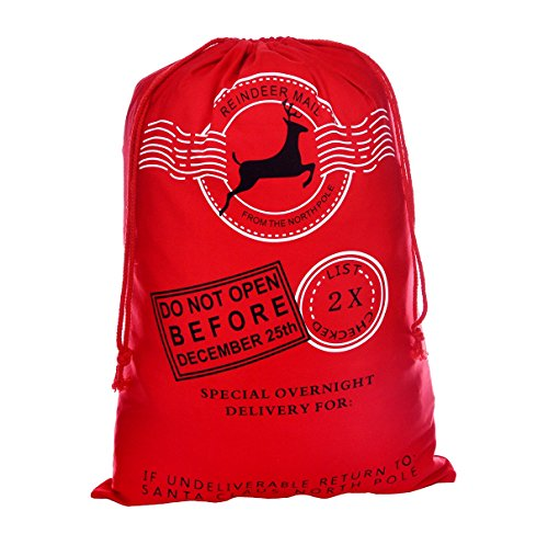 Professional Santa Bag Christmas Bag VANORIG Cute Christmas Gift Bag Santa Sack ,Pack of 1 (Red HK-11)