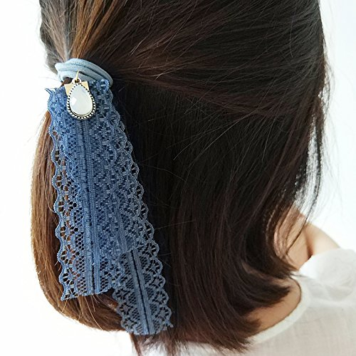 Custom-made crystal droplets ribbon lace hair band Korean small fresh Sen female super-sweet fairy pony tail rubber band for women girl lady