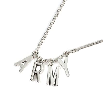29dd588ab2a Image Unavailable. Image not available for. Color  Quaanti Kpop ARMY Necklace  Women Men Jewelry Collier Korea Fashion ...