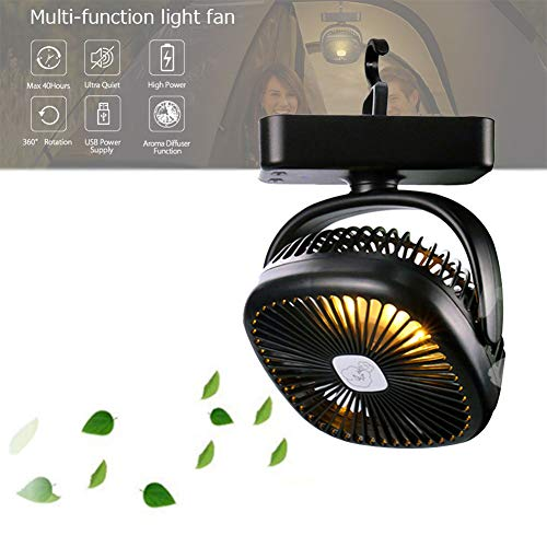 WSN USB Portable Desk Fan,Mini Portable 2 in 1 USB Battery Powered Rechargeable Tent Camping Lighting Fans Black
