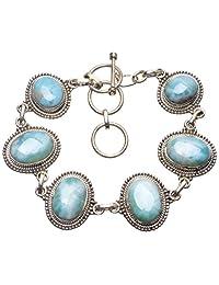 """StarGems(tm) Natural Caribbean Larimar Handmade Unique 925 Sterling Silver Bracelet 7-8 1/4"""""""