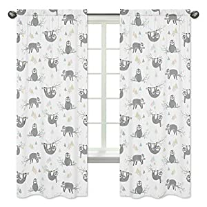 Sweet Jojo Designs Pink and Grey Jungle Sloth Leaf Window Treatment Panels Curtains – Set of 2 – Blush, Turquoise, Gray and Green Botanical Rainforest