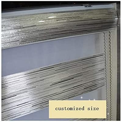 Custom Size Zebra Dual Roller Blinds Silver Metallic Max Width 93 , Max Length 97 3 Colors for Choice