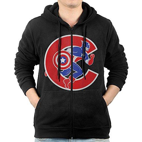 [Captain America Men's Distressed Shield Slim Fit T-shirt Navy] (Cubs Fan Costume)