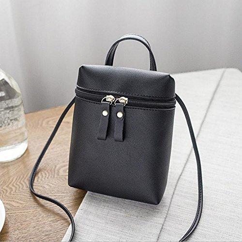 Retro Lady Ladies Bolso Bucket Girls Fashion Shoulder Monedero Para Y Tote Bag Zipper Mujer Black qw1xqY5r