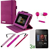 GTMax Hot Pink Lizard Pattern 360 Degrees Rotating Leather Smart Cover Case Plus 3pcs Screen Protector, Handsfree, 3pcs Stylus for Amazon Kindle Fire HD 8.9 inch [ Supports Smart Cover Sleep/Wake up Function], Best Gadgets