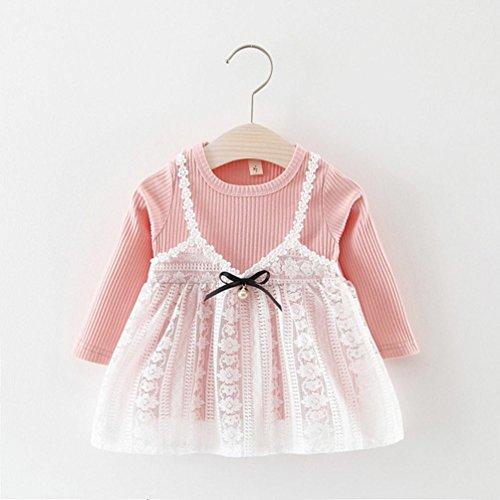 Omiky® Herbst Kleinkind Kinder Baby Mädchen Spitze Solid Bowknot Nette Kleid Outfits Kleider Set Rosa