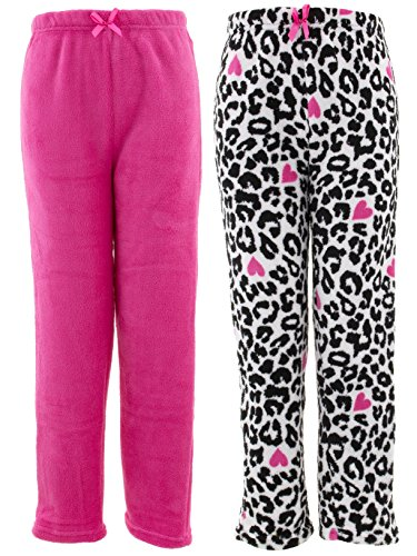 Chili Peppers Big Girls' Pink White Leopard 2-Pack Pajama Pants M/7-8