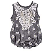 Baby Girls Grey Stripe Laced Floral Daisy Print Sleeveless Romper Jumpsuit (0-3M(Tag70), Grey)