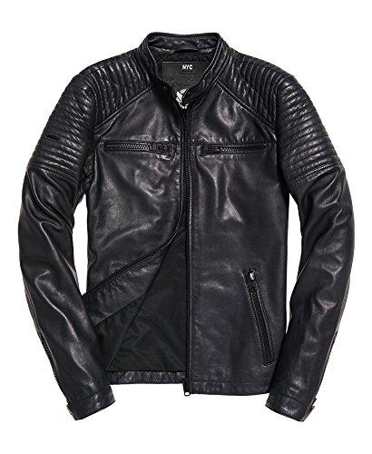 Superdry Leather Quilt Racer Jacket Black (Superdry Mens Leather Jacket)