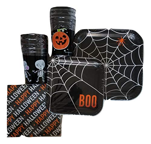 Unique Industries Webs-Pumpkin & Skeletons Halloween Party Pack - Plates, Cups, Napkins - Serves 8 ()