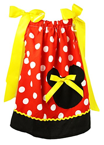 Wholesale Princess Black, Red & Yellow Minnie Pillow Case Dress 1-3 Years (Childrens Clothes Pillow Case Dress)