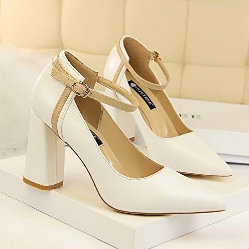 XiaoGao Un par de zapatos de hebillas, de espesor, 8 centímetros, zapatos de punta, y zapatos de tacon alto,Blanco