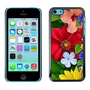 Caucho caso de Shell duro de la cubierta de accesorios de protección BY RAYDREAMMM - Apple iPhone 5C - Floral Spring Colorful Blossom Red Flowers