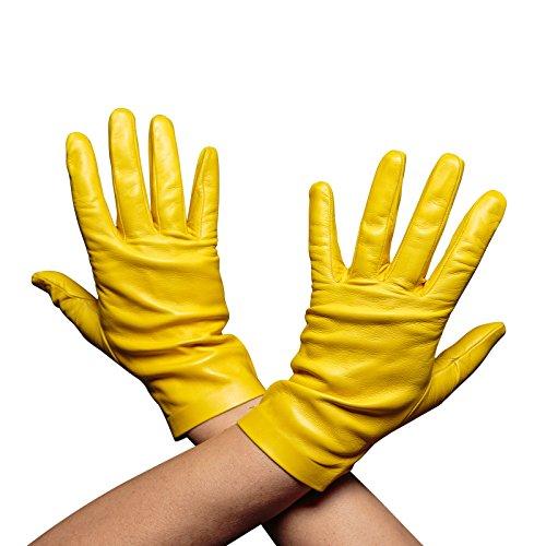 ベッドを作る差コールドBeau Gantハンドメイドイタリアレザー手袋、レディース、裏地なし( 8.5 ,レモンイエロー)