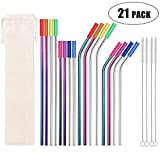 Metal Straws Stainless Steel Straws 16 Pcs 10.5 8.5 Reusable Drinking Straws for 20/24/30 Oz Yeti Tervis Rtic Tumblers with 16 Food Grade Silicone Tips 4 Cleaning Brush 1 Case(Color:Rainbow Silver)