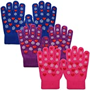 EvridWear Boys Girls Magic Stretch Gripper Gloves 3 Pair Assortment, One Size
