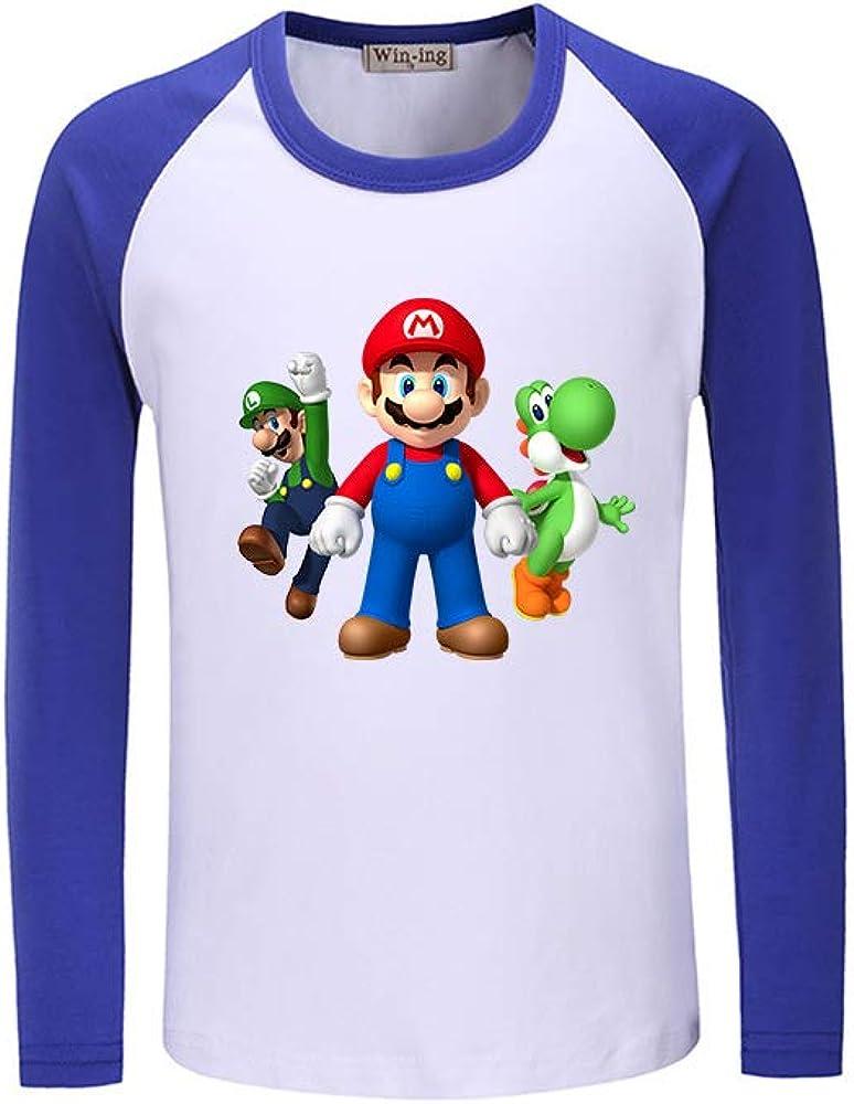 GEIUEIMAN Super Mario Bambini Adolescenti Rotondo Collo Manica Lunga T-Shirt Popolare Stampa Bluse Comoda Maglietta