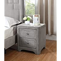 Best Quality Furniture AC20 Upholstered Nightstand Velvet Fabric Night Stand, Two Drawer, Gray