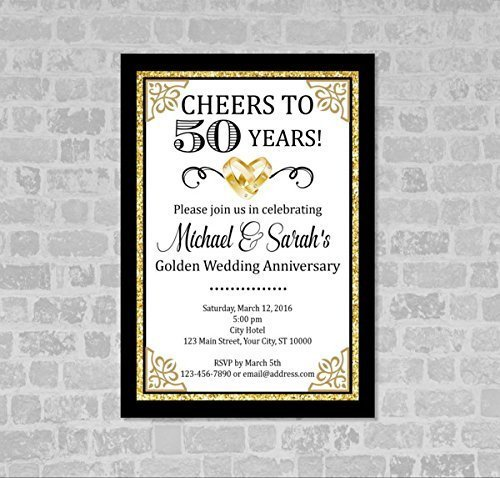 Amazon Com Golden Wedding Anniversary Invitation Gold Digital