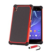 32nd® Shock proof defender heavy duty tough case cover for Sony Xperia Z1 (L39H) + screen protector, cleaning cloth and touch stylus - Red