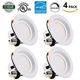Powermall 4 Inch Led Recessed Lighting Energy Star 9W (65W Equivalent) Dimmable 720LM 3000K Retrofit Downlight UL Listed E26 Medium Base Trim Ceiling Light 4 Pack
