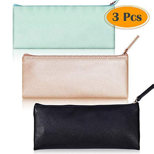 selizo 3 Pcs PU Leather Pencil Pouch Zipper Pencil Case Pen Bag for Office Cosmetic Makeup Organization