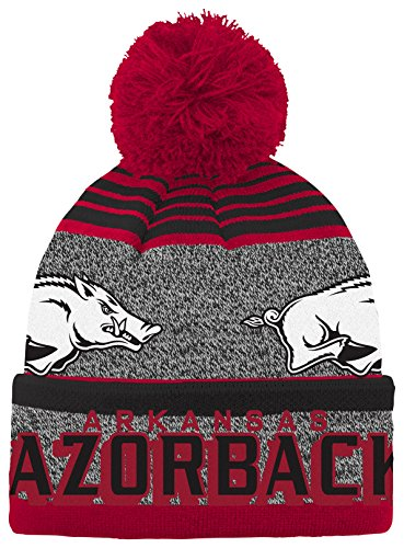 NCAA Arkansas Razorbacks Youth Boys Cuff Knit with Pom Hat, 1-Size, Victory Red - Arkansas Razorbacks Pom Pom