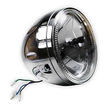 Motorrad Fernscheinwerfer rund mit LED Standlichtring E-geprüft