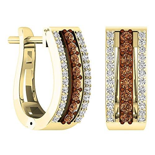 - 0.45 Carat (ctw) 14K Yellow Gold Round Champagne & White Diamond Ladies Huggies Hoop Earrings 1/2 CT