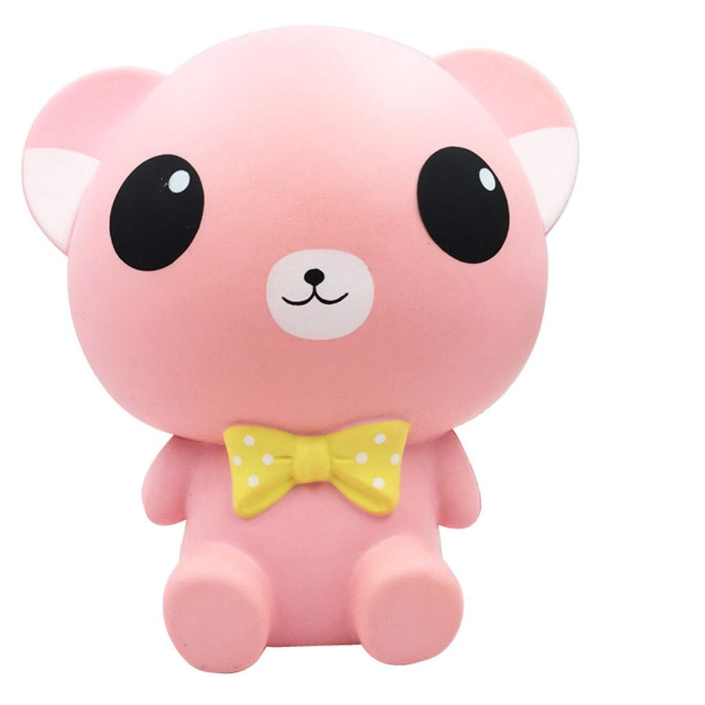 Naiflowers Mochi Squishy Toys, Slow Rising Squishies Toy Kawaii Bear Toys, Squeeze Soft Toy Stress Relief Toys hop Props Sensory Toy Party Favors for Kids Adults (Pink)