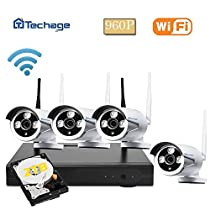 Techage Wifi Security System/ Wireless CCTV System Outdoor/ Indoor, 4CH 960P 1.3MP Waterproof IP Camera, 65ft Night Vision, Plug & Play, Home Security Surveillance Kits With 2tb HDD